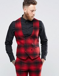 Noose And Monkey Skinny Db Waistcoat In Ombre Check Red