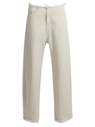 Marques Almeida Frayed Edge Wide Leg Jeans Ivory
