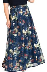 Standards And Practices Plus Size Women's Iris Floral Mesh Maxi Skirt Navy Floral