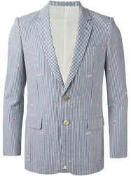 Julien David Striped Blazer Blue
