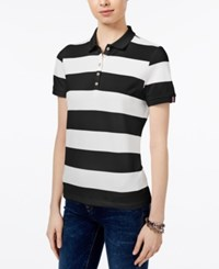 Tommy Hilfiger Striped Polo Top Only At Macy's Black Ivory