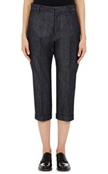 Regulation Yohji Yamamoto Women's Denim Cuffed Crop Trousers Navy