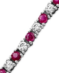 Macy's Sterling Silver Bracelet White Sapphire 2 3 4 Ct. T.W. And Ruby 2 1 2 Ct.T.W.