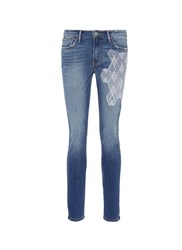Sandrine Rose 'The Hyde' Geometric Embroidered Skinny Jeans Blue
