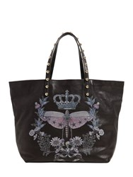 Red Valentino Dragonfly Printed Leather Tote Bag Black