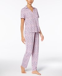 Nautica Printed Notch Collar Pajama Set Multi Color