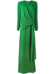 Lanvin Draped Long Dress Green