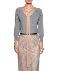 N 21 Sweater With Contrast Necktie Gray