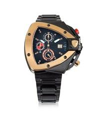 Lamborghini Tonino Watches Black And Rose Gold Tone Stainless Steel Spyder Chronograph Watch