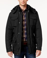 Perry Ellis Men's Field Jacket With Removable Hood Black