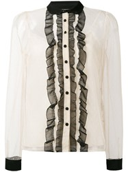 Red Valentino Lace Inserts Shirt Women Silk Polyester 46 Nude Neutrals