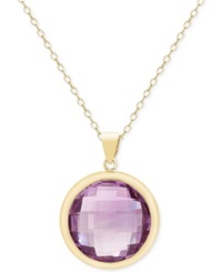 Victoria Townsend Amethyst Bezel Pendant Necklace 16 1 2 Ct. T.W. In 18K Gold Over Sterling Silver Yellow Gold