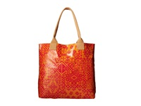 Coated Canvas Tote Pendleton Bandana Coral Tote Handbags Orange