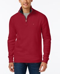Tommy Hilfiger Men's Ribbed Quarter Zip Sweater Chili Pepper