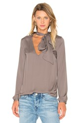 House Of Harlow X Revolve Naomi Tie Neck Blouse Gray