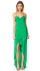 Michelle Mason Bias Ruffle Gown Kelly Green