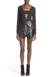 Women's Missguided Faux Leather Skort Romper