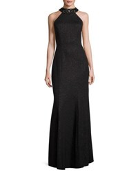 Marina Embellished Halter Neck Trumpet Gown Black Metallic