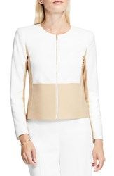 Vince Camuto Women's Zip Front Collarless Jacket New Ivory