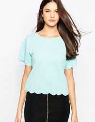 Ax Paris Scallop Edge Top Blue