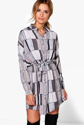 Boohoo Olga Stripe Tie Front Shirt Dress Grey