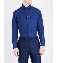 Richard James Contemporary Fit Linen Shirt Indigo