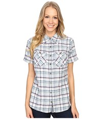 Carhartt Brogan Shirt Lapis Blue Heather Women's Short Sleeve Button Up White