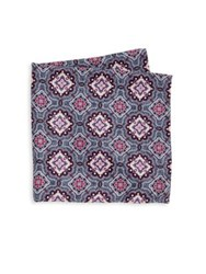 Saks Fifth Avenue Double Faced Floral Printed Silk Pocket Square Multicolor