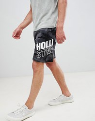 Hollister Print Logo Camo Print Sweat Shorts In Black Black Camo