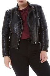 Elvi Plus Size Women's Faux Leather Biker Jacket