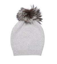 William Sharp Diamond Knit Slouch Hat Female Light Grey