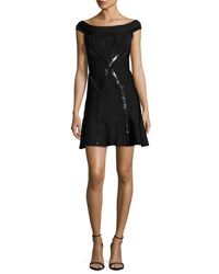 Herve Leger Sequined Cap Sleeve Cocktail Dress Black