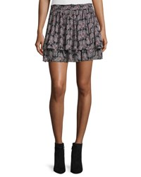 Derek Lam Tiered Floral Silk Skirt Black Multicolor Black Multi