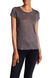 Alice Olivia Robin Embellished Scoop Neck Short Sleeve Linen Tee Gray