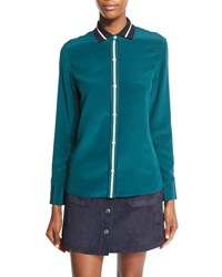 Rag And Bone Nico Long Sleeve Tipped Silk Blouse Teal