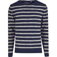 Only And Sons River Island Mens Blue Stripe Crew Neck Jumper