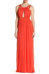 City Triangles Embellished Beaded Strappy Dress Orange