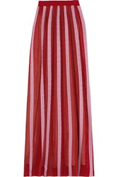 Missoni Pleated Crochet Knit Maxi Skirt Claret