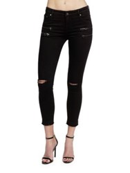 Cult Of Individuality Skinny Fit Zippered Jeans Black Opal