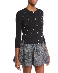 Marc Jacobs Wool Cashmere 3 4 Sleeve Cardigan With Pearly Embellishments Black