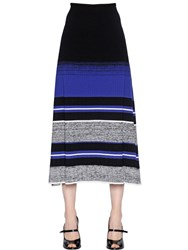 Sportmax Striped Stretch Rib Knit Midi Skirt