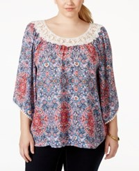 Eyeshadow Plus Size Printed Crochet Scoop Neck Blouse