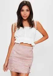Missguided Pink Embroidered Jacquard Lace Up Side Mini Skirt