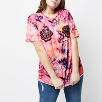 River Island Womens Plus Pink Tie Dye Sequin Shell T Shirt