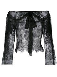 Philosophy Di Lorenzo Serafini Lace Off Shoulder Bow Blouse Black