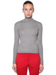 Marco De Vincenzo Lurex Ribbed Turtleneck Sweater Silver