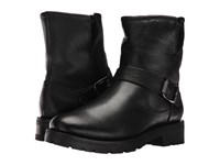 Frye Natalie Short Engineer Lug Black Waterproof Waxed Pebbled Leather Shearling Women's Pull On Boots