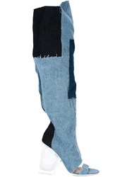 Off White Tall Denim Boots Blue