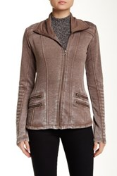 Blanc Noir Asymmetric Zip Front Burnout Fleece Moto Jacket Brown