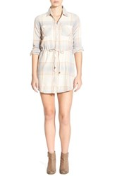 Junior Women's Element 'Jessey' Plaid Shirtdress Natural
